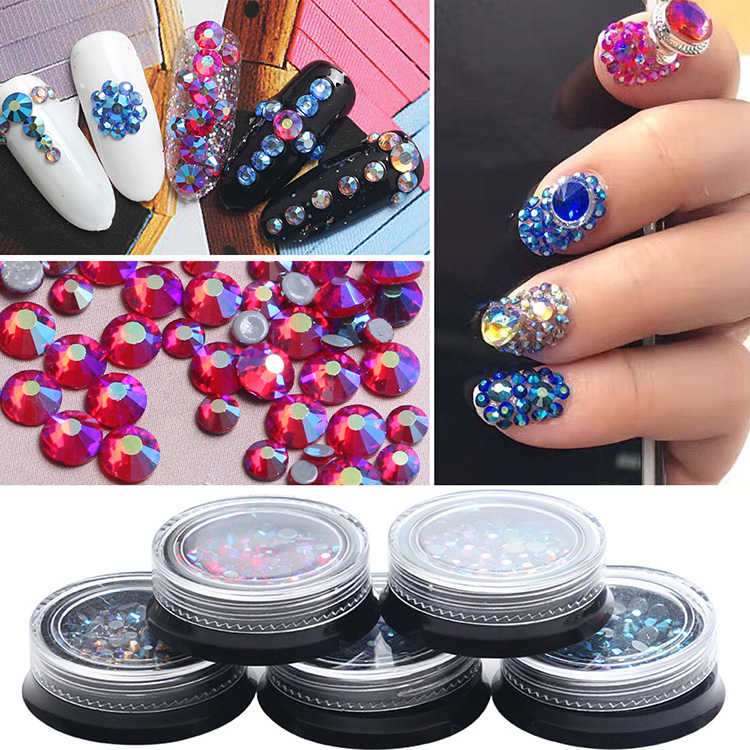 Latest 1 box mix sizes Symphony gold AB/red AB/blue AB nail art crystal top quality Hotfix nail Rhinestone nail art accessories спот citilux техно cl503541