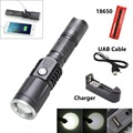 XM-L2 Flashlight Torch USB charge 5modes mobile power 18650 battery Intelligent flashlight+charger+18650+usb cable