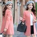 WomensDate 2016 Venda Quente Mulheres Long-sleeved Magro Foi Cintura Fina E Seções Longas Senhoras Trench Coat O-pescoço Trincheira casaco