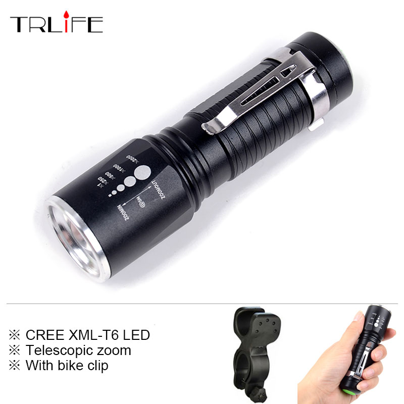 3800 LM CREE XML-T6 5 Modes Zoom LED Flashlight Torch Aluminum Waterproof Led Pocket Light with Bike Clip for 18650/AAA Battery hot sale 3x cree xml t6 led headlamp bike light 5000 lumen 18650 led head light 4x18650 battery pack charger bike rear light