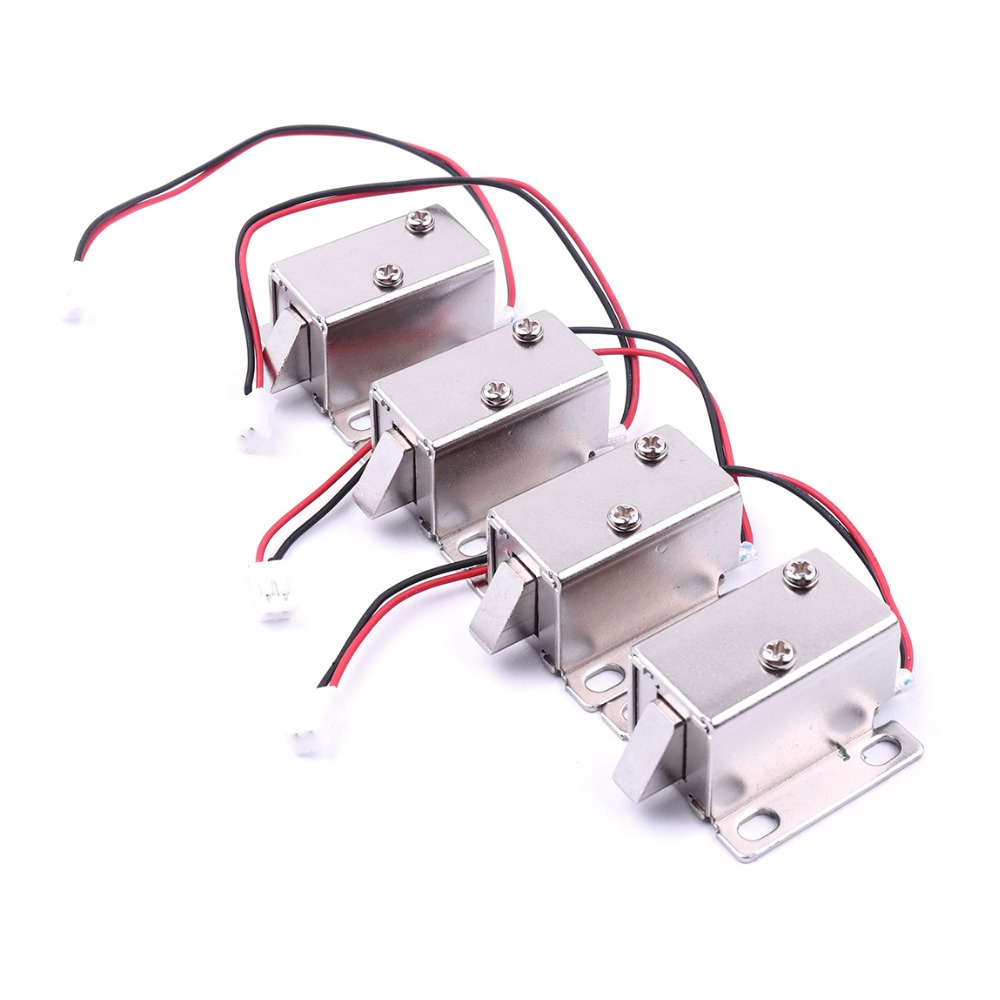 Top Quality 4Pcs DC 12V Mini Electric Solenoid Lock Small Electromagnetic Lock Cabinet Door Electric Lock Assembly Solenoid Lock dc 24v 0 77a door lock tubular electric solenoid coil