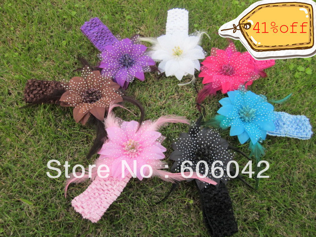 15pcs/lot mix Colors for Your Pick 4'' Rose Flower with Feather and Crochet Headband