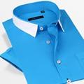 2016 Nueva 100% Camisas de Algodón para Hombres de Manga Corta Masculina Ocasional Del Verano Camisas Del Diseñador Camisas de Cuello Camisas de Moda Calidad de La Vendimia