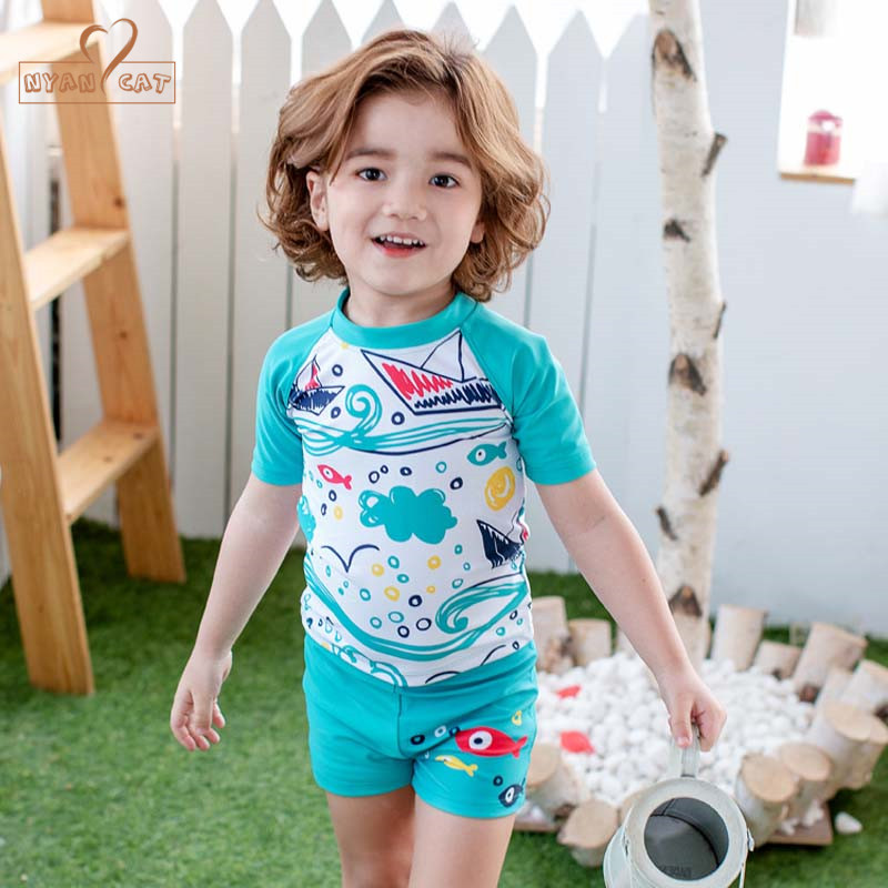 Nyan Cat UV Swimsuit for Child Swim Lessons Swimsuits 3pc cartoon ship fish Baby Toddler Boys Swimwear Bathing Suit+hat