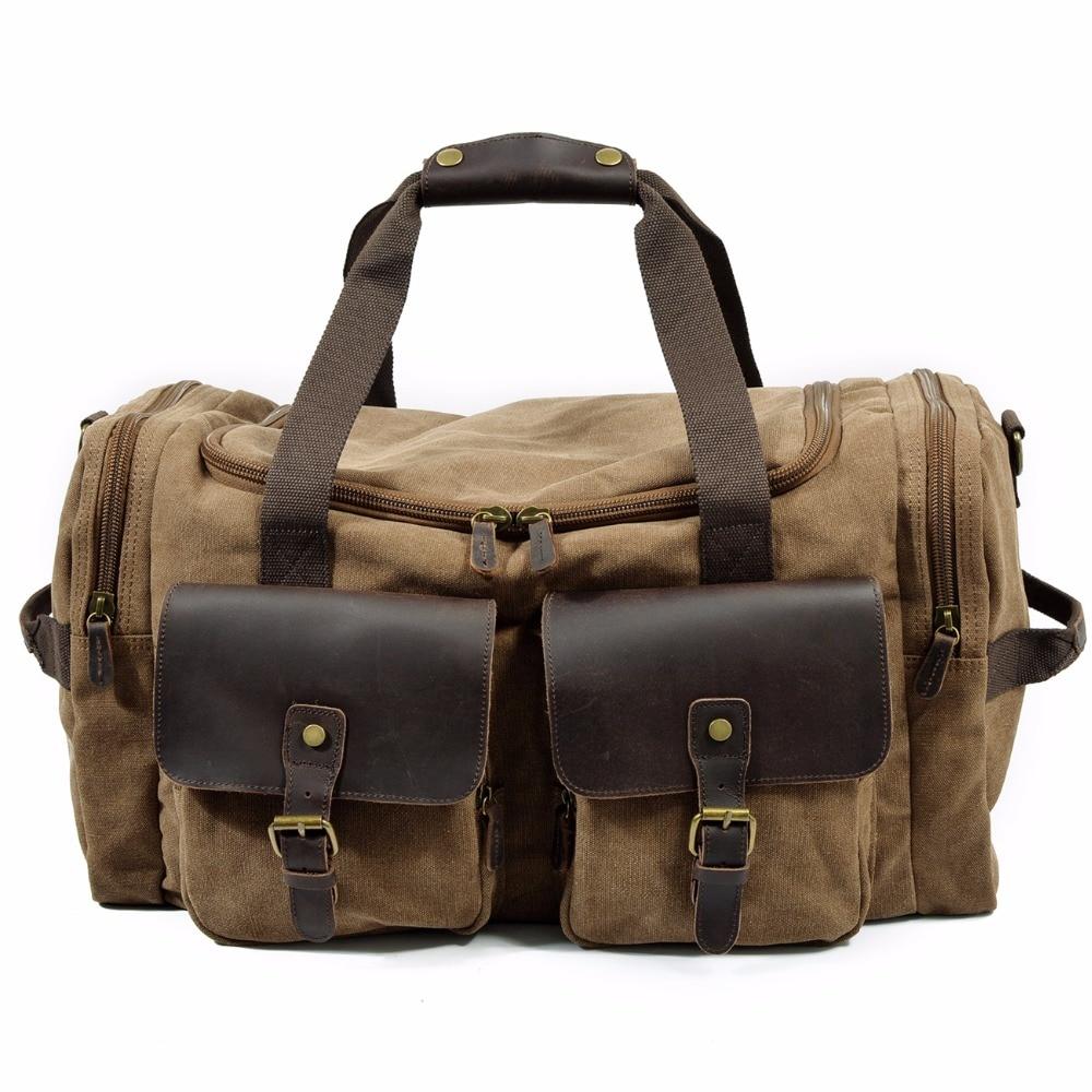 все цены на YUPINXUAN Mens Large Capacity Canvas Leather Travel Duffle Vintage Big Weekend Bag Oversized Luggage Handbags Folding Trip Bags онлайн