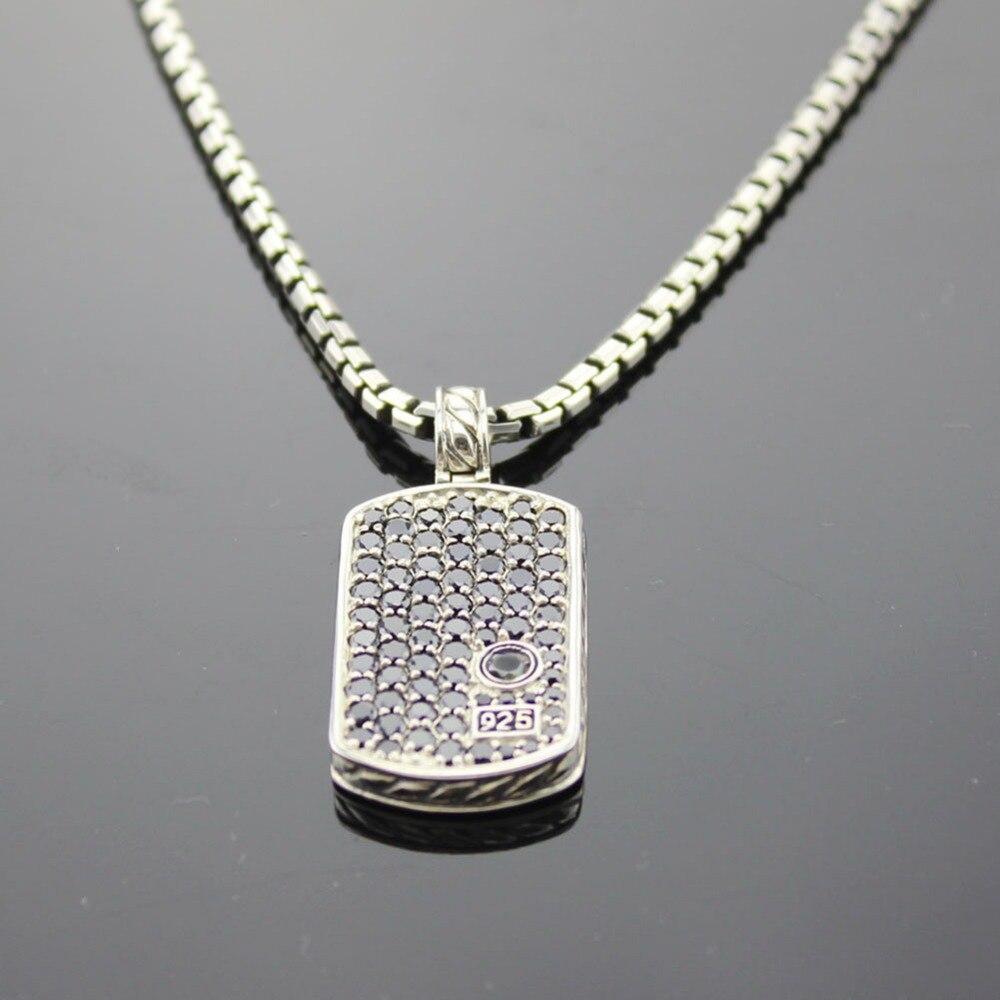 Solide 925 argent hommes bijoux Pave noir blanc diamant chien Tag collier Design bijoux hommes pendentif collier cadeaux de noël