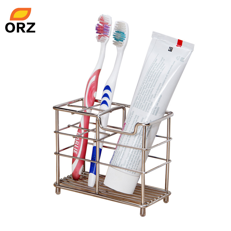 ORZ Bathroom Stainless Steel Toothbrush Holder and Toothpaster Holder Storage Organizer Rack Toothbrush Box Bathroom Accessories image