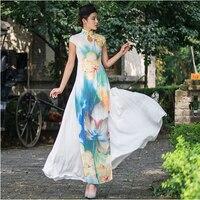 original Vietnam aodai Graceful Stand Collar Robes Elegant Design Flower Fashion high quality Improved Long Cheongsam Dress
