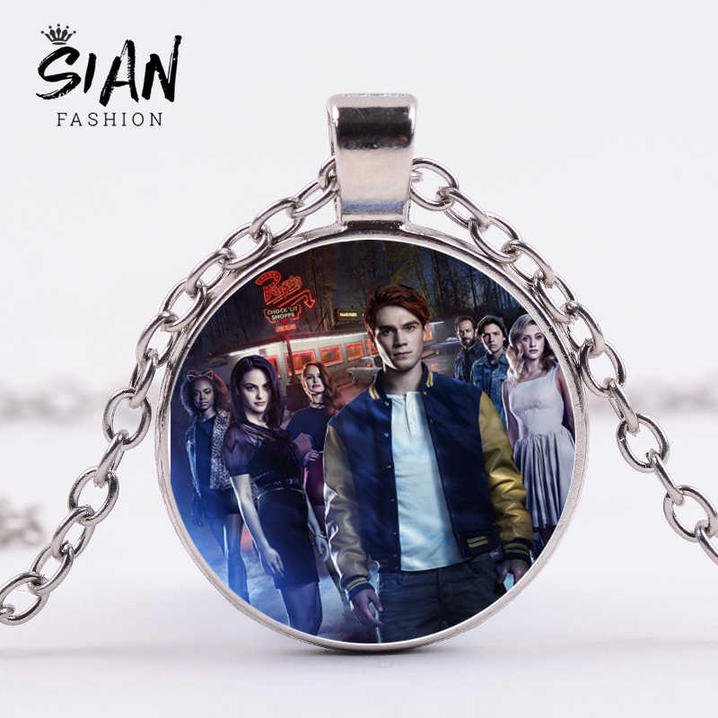 SIAN Trendy Riverdale Necklace Mysteries of Riverdale Classic Poster Printed Glass Cabochon Pendant Necklace Men Women Fans Gift