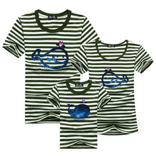Family Set 2016 Striped T-shirt Men Harajuku Sport Anime T Shirt Brand Skate Kids Tshirt Polera Matching Mother Daughter Clothes