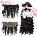 Mealid Deep Wave Malaysian Hair With Closure Malaysian Deep Curly With Frontal Closure Deep Wave 4 Bundles With Frontal Closure