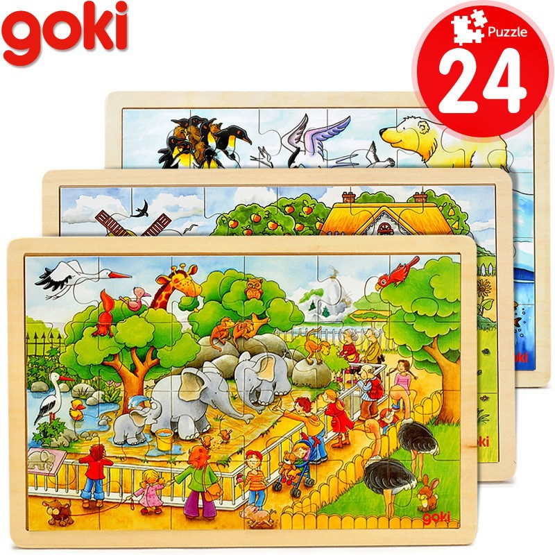60 PCs cartoon wooden puzzles brand gokie assemble wood puzzle font b toys b font kids