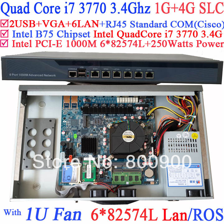computer router firewall with six intel PCI-E 1000M 82574L Gigabit LAN Intel Quad-Core i7 3770 3.4G Mikrotik ROS 1G RAM 4G SLC