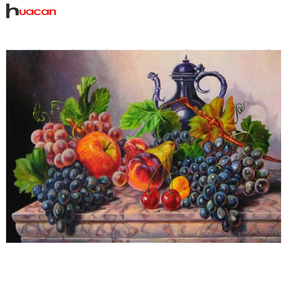 HUACAN 5D Diy Diamond Embroidery Fruits needlework Square Cross-stitch Diamond Painting Decor for New Year საჩუქრები