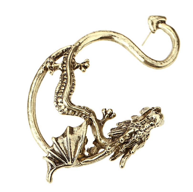 US $1.88 |Women New Gothic Punk Dragon Stud Earrings Fashion Jewelry Plated  Bronze Silver Black Piercing Earings Ear Cuff 1 Pc On Left Ear-in Stud ...