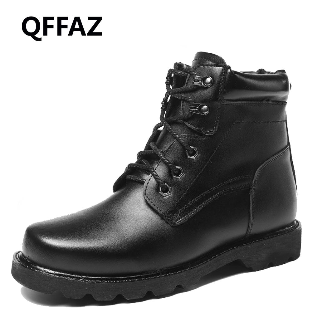 QFFAZ Men Boots Plush casual Lace Up men's leather shoes Winter ankle boots Fashion Oxford Shoes For Men Big Size 38-48 qffaz new summer men casual shoes fashion leather shoes breathable casual british style lace up men casual shoes size 38 48