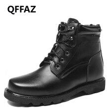 QFFAZ Men Boots Plush casual Lace Up men's leather shoes Winter ankle boots Fashion Oxford Shoes For Men Big Size 38-48