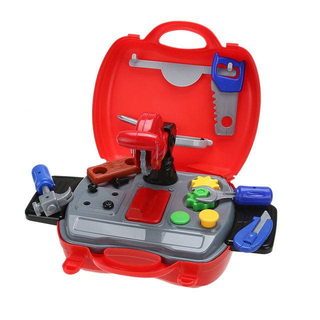 19Pcs/Set Simulated Building Tool Kits Toy Child Playing House Toy Mini Plastic Construction Tools Box Kids Pretend Play Toy