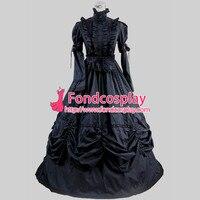Готическая Лолита панк средневековое платье черный шар длинное вечернее платье куртка на заказ [CK1382]