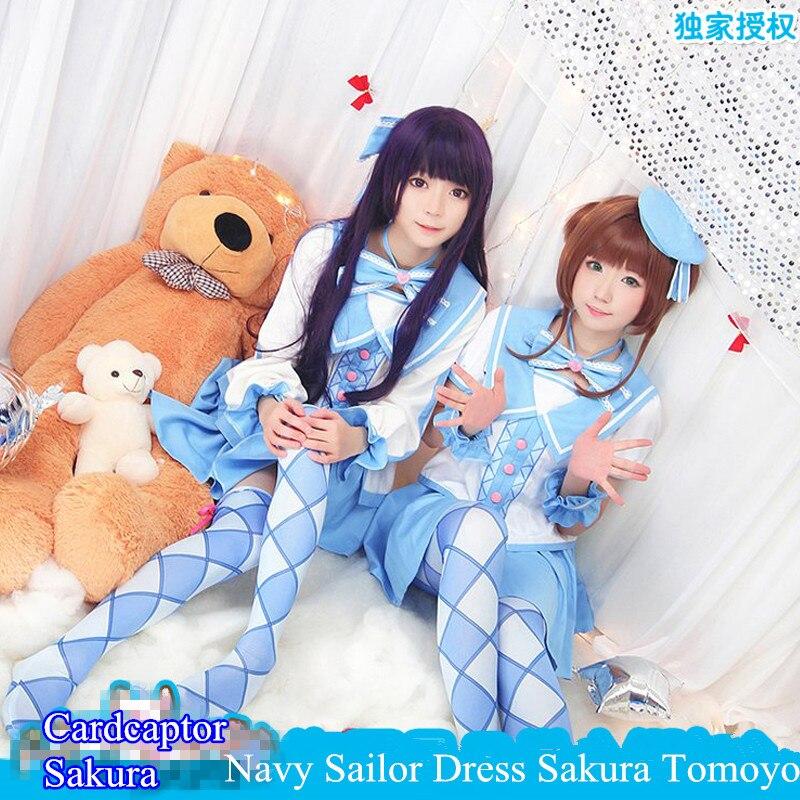 Anime! Cardcaptor Sakura Sakura Kinomoto Daidouji Tomoyo Navy Sailor Uniform Cosplay Costume For Women Free Shipping kinomoto sakura kero daidouji tomoyo anime cardcaptor sakura rubber keychain
