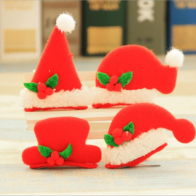 2018 flashing red christmas hat hair clips for women girls light up headwear christmas party