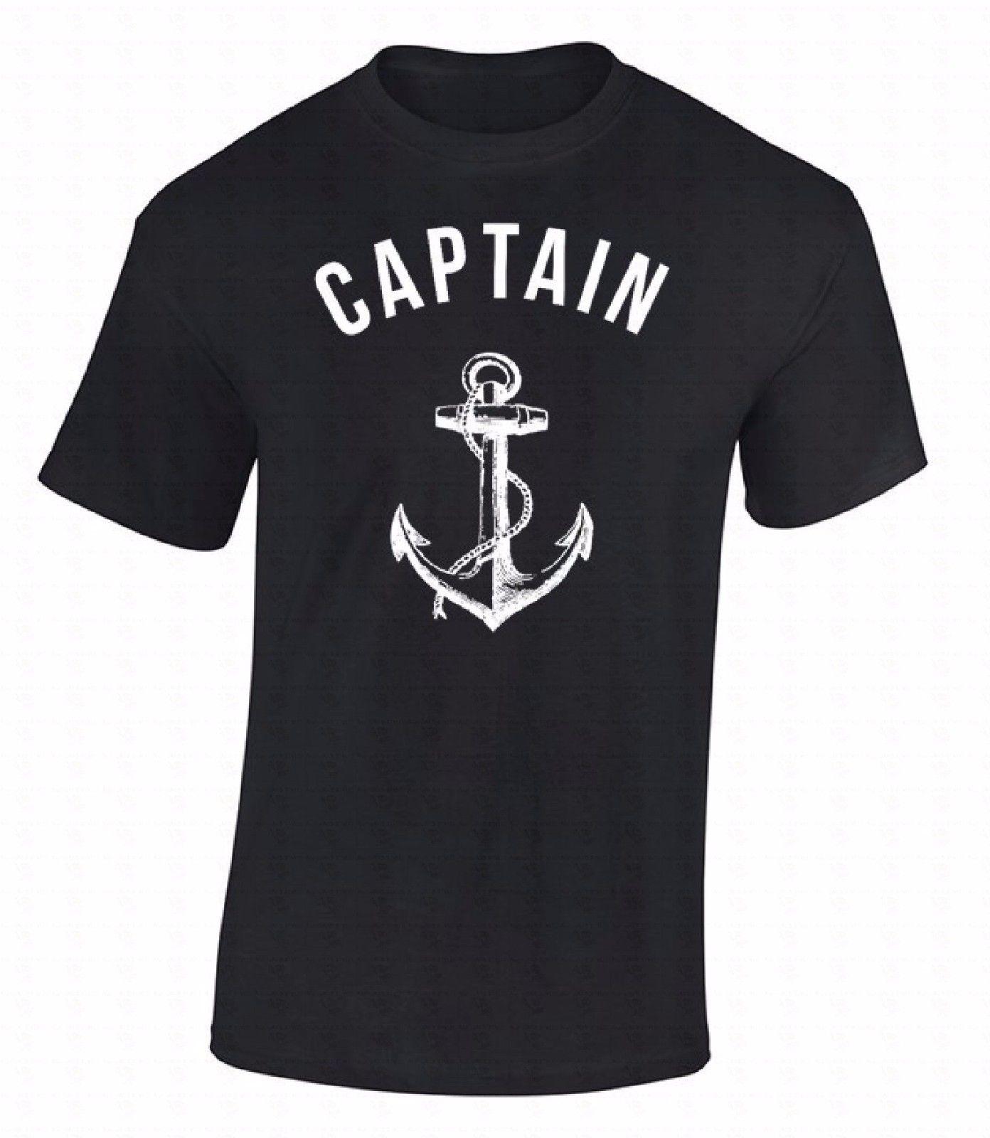 High Quality T-shirt Captain T-shirt Anchor Nautical Sea Sailor Ship Marine Fashion Cool Gift Shirt