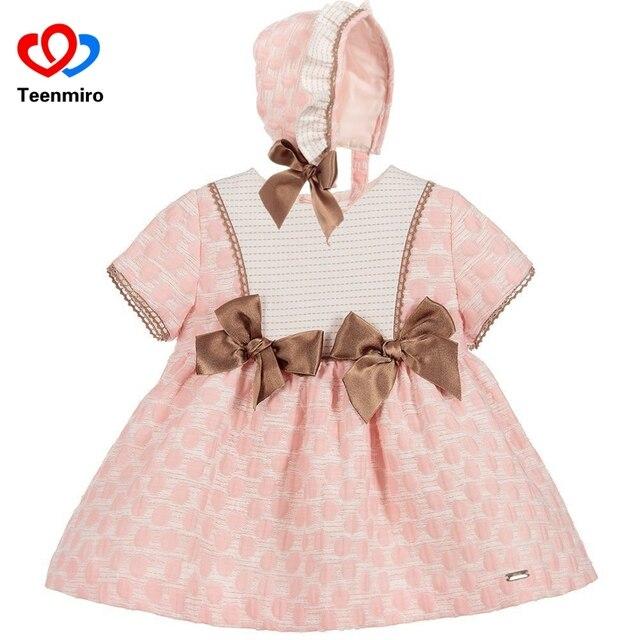 Испания детская одежда для юбка-пачка для девочек платье новое летнее натуральный хлопок туника платья + PP штаны шапка для дня рождения причастия мини платье