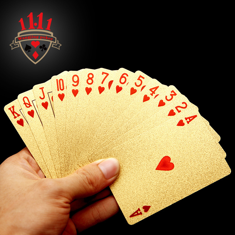Waterproof 54pcs Original Luxury 24K Gold Foil Plated Poker Premium Matte Plastic Board  ...