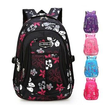 Çocuklar okul çantası s Kızlar Için Çocuk 2018 Çiçek Baskı Sırt Çantaları omuzdan askili çanta Birincil okul çantası Siyah Bolsa Escolar
