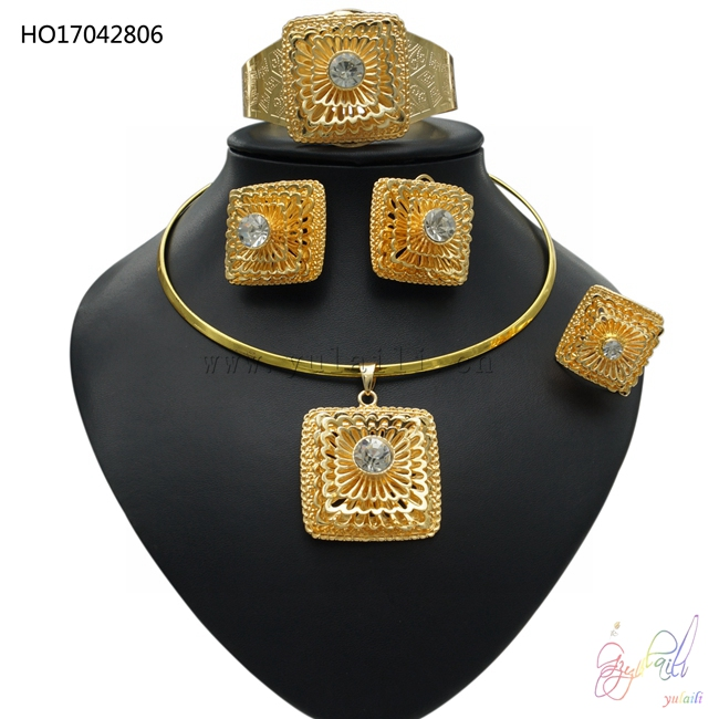 YULAILI Ethiopian Jewelry Sets Pure Gold Color Choker Pendant Bangle Earrings Ring Traditional Accessories in Ethiopia