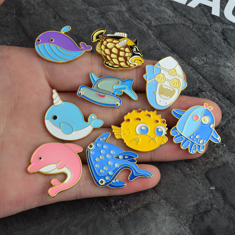 Japanese cute cartoon animal underwater world shark <font><b>whale</b></font> dolphin hippocampus brooch pin lapel enanel badge gift for children image