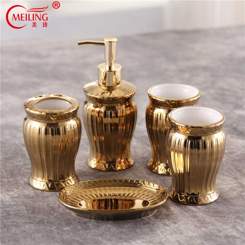Luxury Gold Bathroom Accessories Set Ceramic Toothbrush Holder Soap Toothpaste Dispenser Toilet Storage Organizer For Home