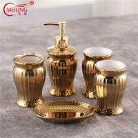Luxury Gold Bathroom Accessories Set Ceramic Toothbrush Holder Soap Toothpaste Dispenser Toilet Storage Organizer For Home Decor