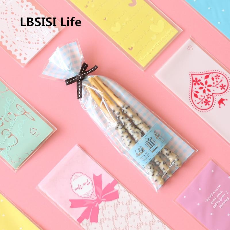 LBSISI Life 100pcs Finger Cookie Cake Bags Love Dot Long Plastic Gift DIY Kraft Card Packaging Cupcake Wrapper Self Adhesive Bag