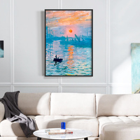 Induction lamp painting Claude Monet Classic Impression Sunrise Kraft Paper Poster Retro Decorative Paintings Home Decoe Wall St