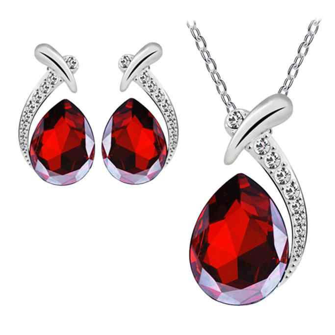 Fashion Women Crystal Pendant Silver Plated Chain Necklace Pendants Stud Earring Jewelry Set