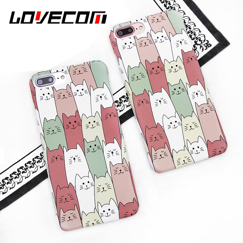 LOVECOM Cartoon Cute Multiple Cats Print Phone Case For iPhone 6 6S 7 Plus Half-warpped Matte Hard PC Back Cover Bags