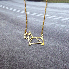 f181c075119b Collar de Terrier escocés de moda al por mayor para mujer collar de  declaración de Origami joyería de perro Kolye Cs ir Collares