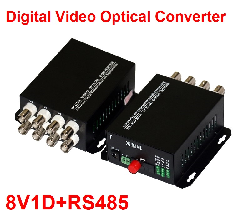 1 par 2 unids/lote 8 canales Video convertidor 8V1D de fibra óptica Video transmisor y receptor 8CH + RS485 datos