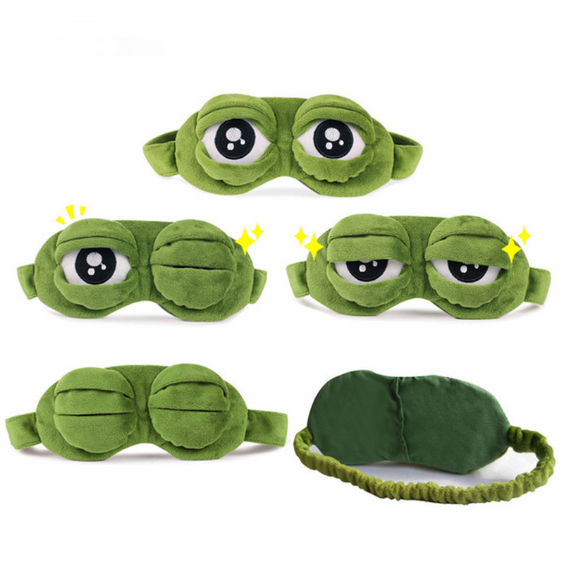 Funny Creative Pepe The Frog Sad Frog 3D Eye Mask Cover Cartoon Plush Sleeping Mask Plush Toy Soft Cute Anime Child Girl Gift