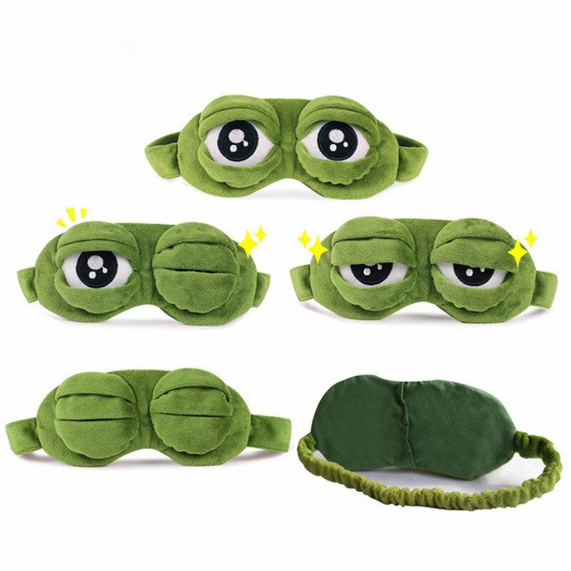 Funny Creative Pepe The Frog Sad Frog 3D Eye Mask Cover Cartoon Plush Sleeping Mask Plush Toy Soft Cute Anime Child Girl Gift