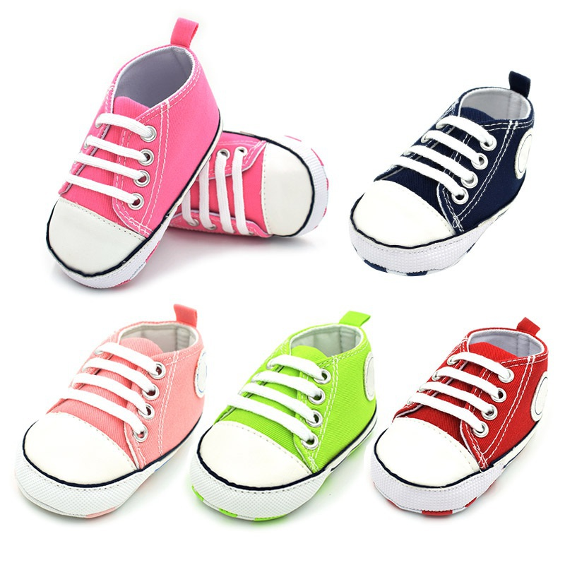 Newborn Baby Infant Toddler Classic Casual Sports Sneakers Baby Boys Girls First Walkers Shoes Crib Babe Soft Soled Shoe