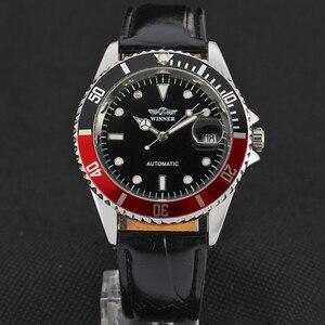 Image 1 - זוכה ייחודי Twotone עיצוב לוח קלאסי תאריך אוטומטי מכאני עצמי רוח שעון אופנה מזדמן עור שעון יד