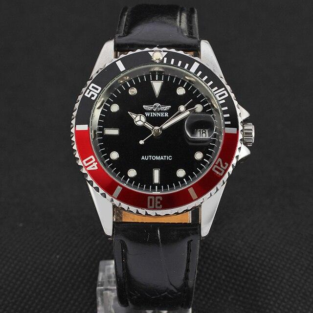 זוכה ייחודי Twotone עיצוב לוח קלאסי תאריך אוטומטי מכאני עצמי רוח שעון אופנה מזדמן עור שעון יד