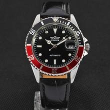 Winnerユニークtwotoneデザインベゼルクラシック自動日付機械式自己風時計ファッションカジュアル革腕時計