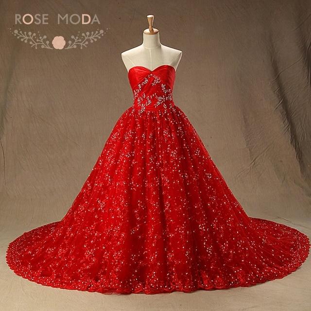 Rose Moda Rote Spitze Brautkleid mit Kapelle Zug Voll Perlen Vintage ...