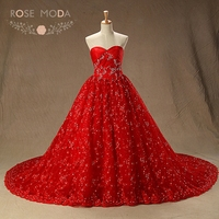 Rose Moda Red Lace Wedding Dress With Chapel Train Fully Beaded Vintage Lace Wedding Dresses Real