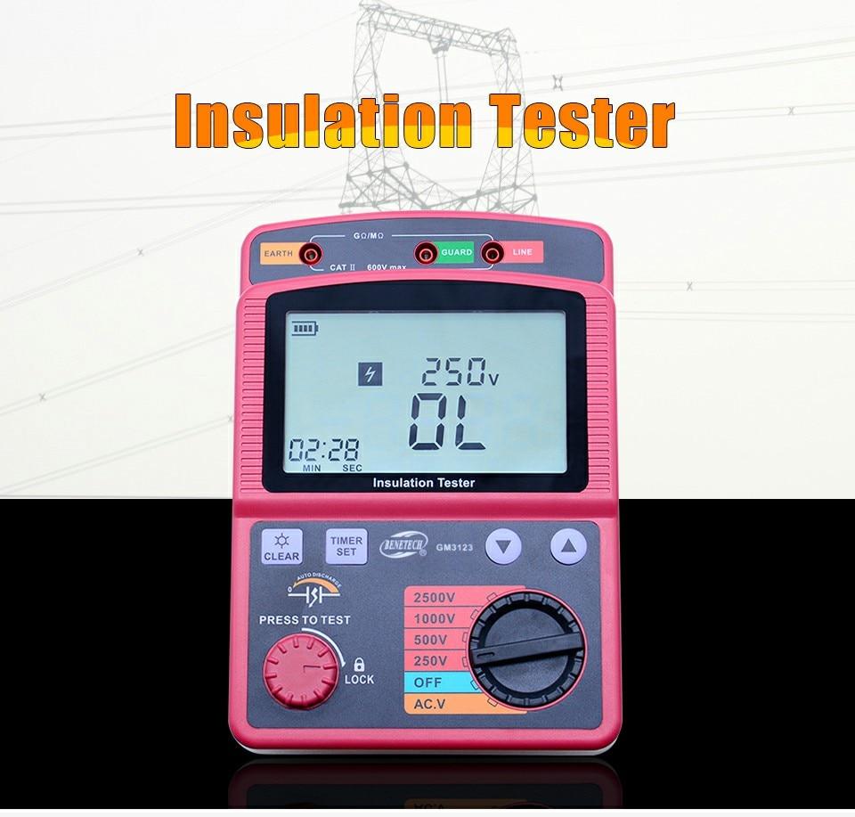 GM3123 2500V insulation resistance meter digital megohm meter Ohm ...