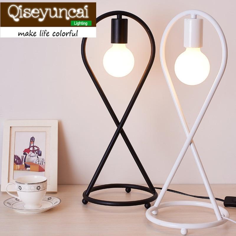Qiseyuncai 2018 nouvelle personnalité nordique oeil LED lampe de bureau idées Simple chaud chambre étude apprentissage lecture fer lampe de bureau