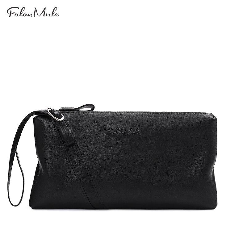 цена FALAN MULE New Male Clutch Genuine Leather Wallet Men Clutch Bag Clutch Male Wallet Coin Purse Long  Men Wallet Men Handy Bag онлайн в 2017 году